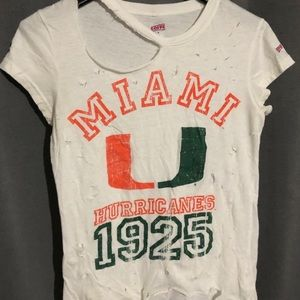 University of Miami distressed hurricanes shirt